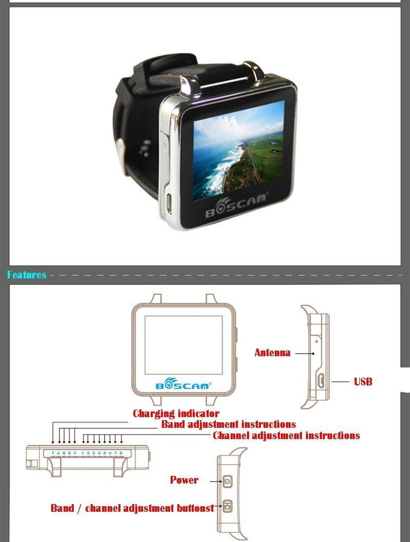 BOSCAM BOS200RC FPV Watch 200RC 5.8GHz 32CH HD 960*240 2\