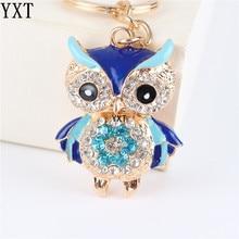 Blue Owl Bird Crystal Charm Purse Handbag Car Key Ring Chain Party Wedding Birthday Creative Gift