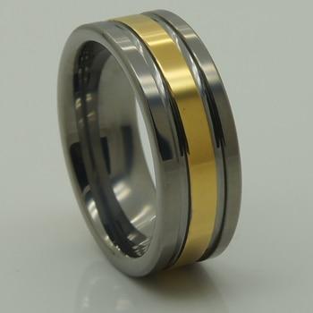 fefe053e59dc 8mm 2 tono oro de alta tecnología arañazos prueba tungsteno boda anillo