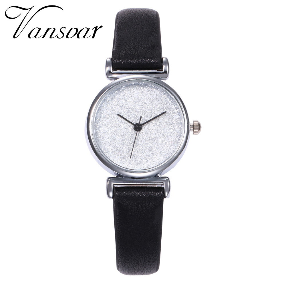 Vansvar Elegant Women Watches Ladies Small Star Sky Dial Clock Hour Leather Band Wrist Watch Clock Relogio Feminino 533