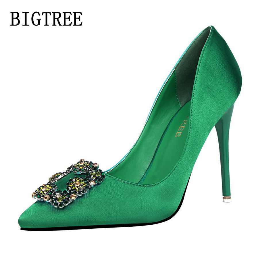 BIGTREE 2017 new spring fashion sexy nightclubs high heels, ladies shallow mouth pointed satin rhinestone fine 10CM single shoes bigtree spring autumn simple shallow mouth women pumps pointed sexy was thin nightclub 10 cm fine high heels shoes