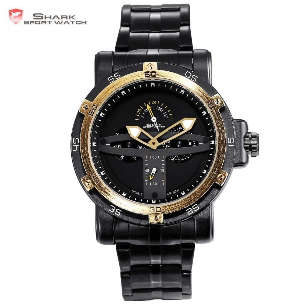 Greenland Shark Sport Watch Men Luxury Brand Golden Bezel Date Army Military Watch Clock Steel Montre Homme Quartz Watch /SH427 greenland shark sport watch men luxury