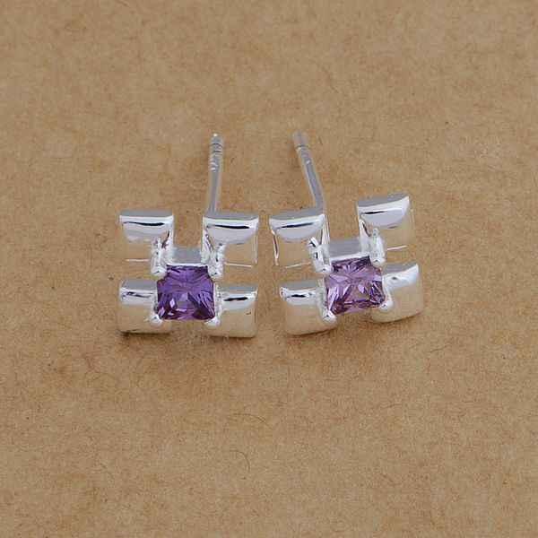 AE660 Hot 925 sterling silver bông tai bạc, 925 bạc trang sức, X shape dát tím đá/ctoalkva bdqajuxa