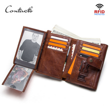 CONTACTS crazy horse cow leather RFID men wallets credit card holders mens wallet with coin pocket brand walet male clasp purse