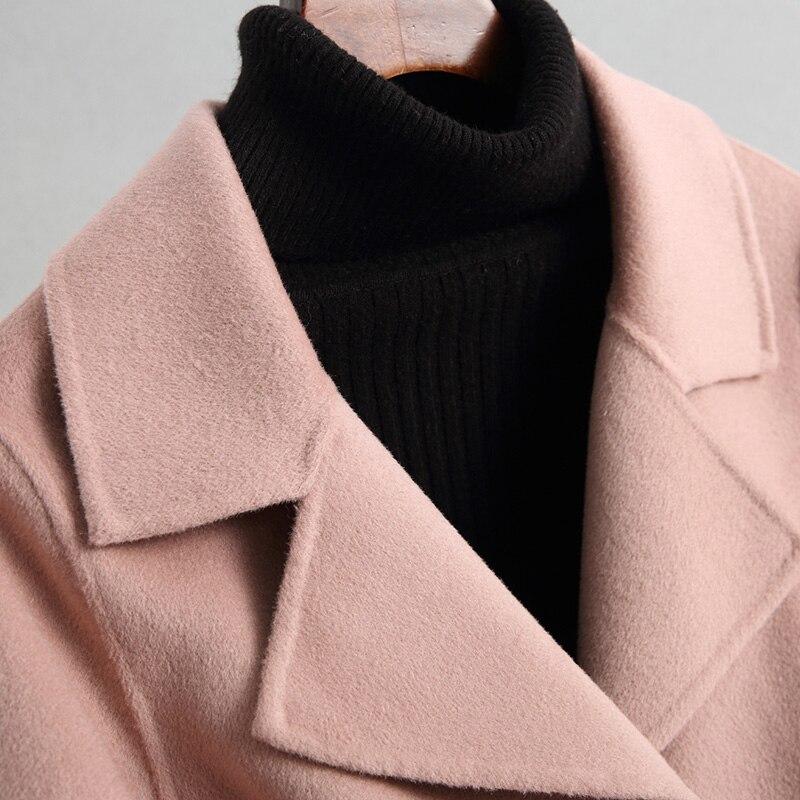 Laine Femelle Nouvelle face Z243 Femmes Manteau De Solide Double Casaco Beige Vestes Hiver Haute Feminino Survêtement Pour rose Automne Cachemire Qualité XvwwngU0