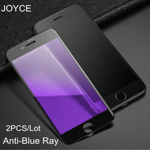 JOYCE 2PCS Blue ray glass iPhone 7 8 6s x Anti-blue protective 6 plus xr xs max Screen Protector  Full Cover screen