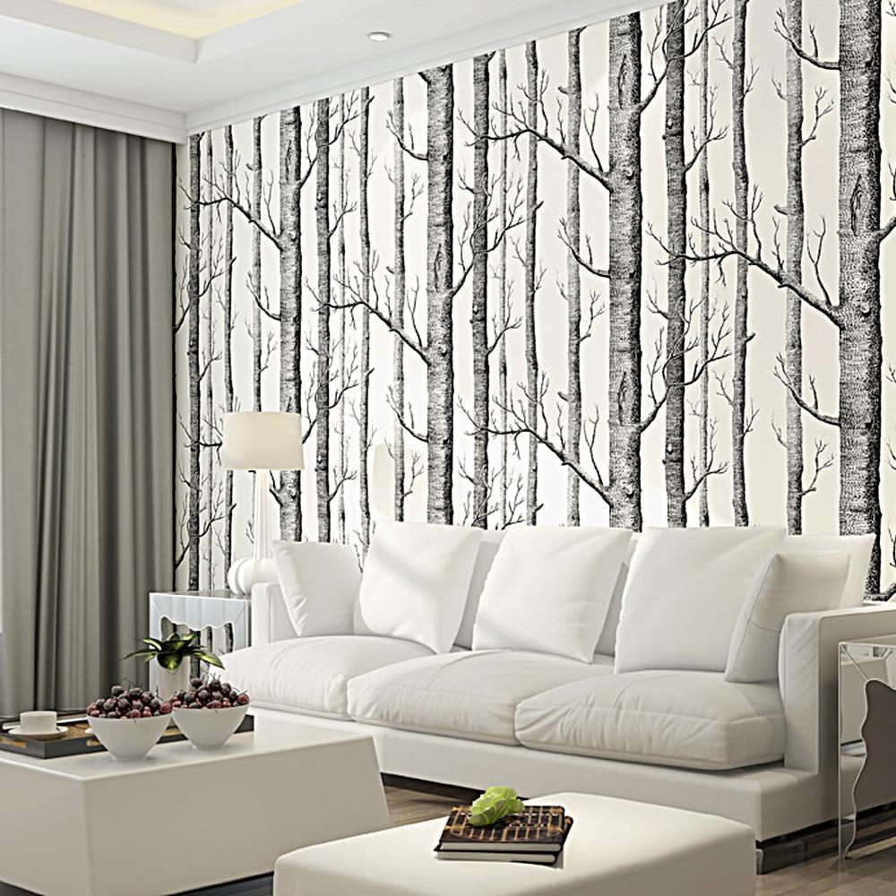 Colomac 3D Black White Birch Tree Pattern Wallpaper Wood