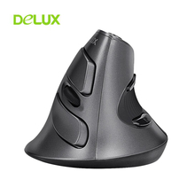 Delux M618 Wireless Mouse 1600 DPI USB Upright Optical Computer Mice 2.4Ghz 5 Buttons Ergonomic Vertical Removable Palm Rest