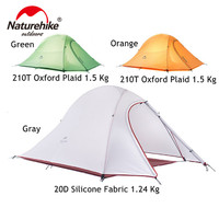 Naturehike 1 Person Tent 20D Silicone FabricTent Double layer Aluminum 4 Season Camping Tent With Mat Outdoor Survival Equipment