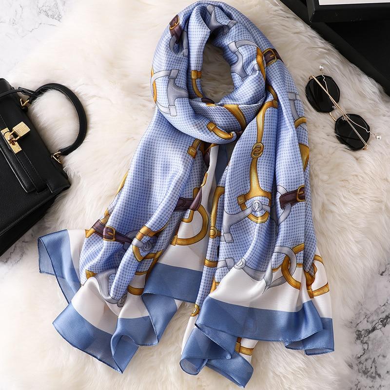 REALSISHOW Designer Silk   Scarf   Women Luxury   Scarves   Long Shawls and   Wraps   Scarfs Femme Head Bandana 2019