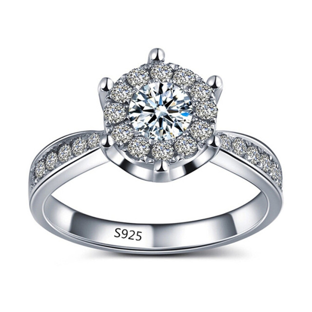 Fashion white gold plated Ring Finger anel aneis   Jewelry White Gold Wedding Engagement Rings For Women 104