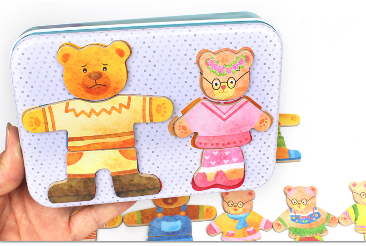 Iron Box Wooden Bear Family Drees-up 3D Jigsaw Puzzles Children Preschool Montessori Intelligence Educational Toy for Baby Gifts ...