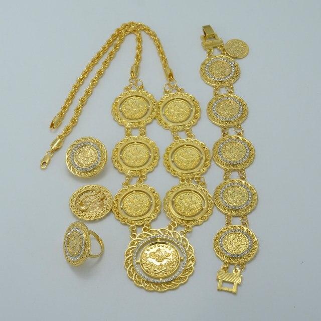 Online Shop Anniyo Arab Coin Jewelry sets NecklaceBraceletEarrings