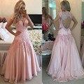 Nuevo Dulce 16 de Una Larga Línea de Vestidos de Baile Pink Rebordear Apliques de Perlas ojo de la Cerradura de Nuevo Vestido de Fiesta de Graduación de Noche Barato