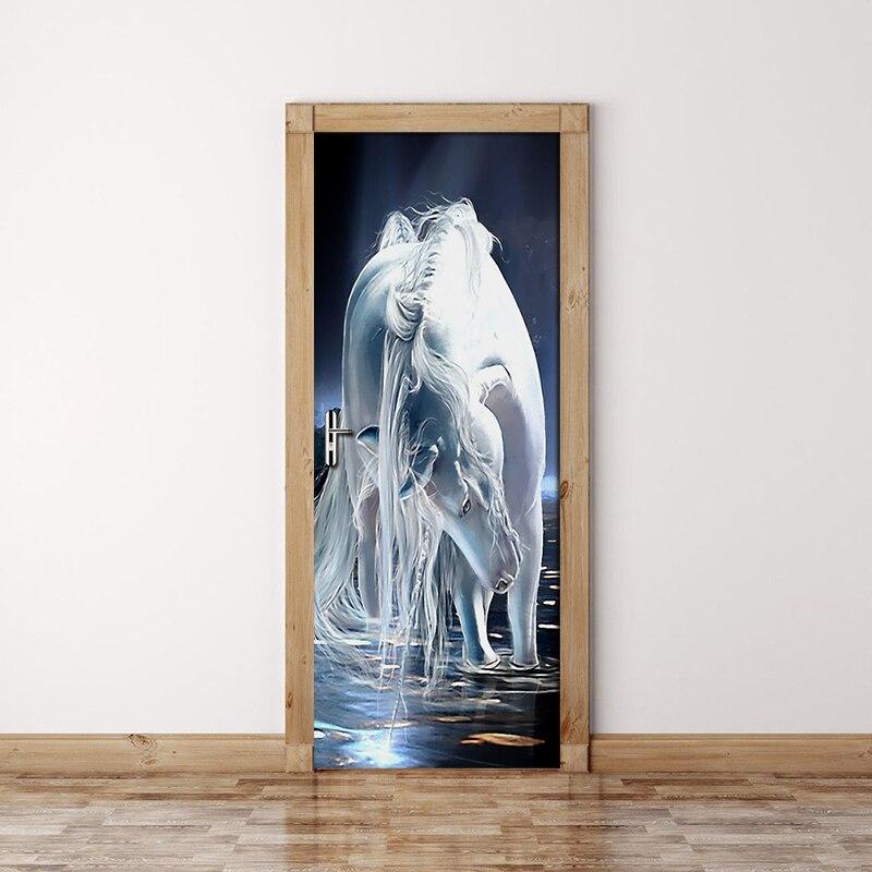 Modern Art White Horse Mural 3D Wallpaper Home Decoration Living Room Bedroom Door Sticker PVC Self-adhesive 3D Papel De Parede