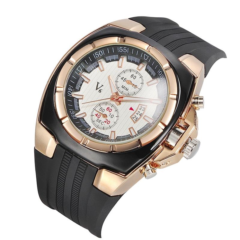2017 V6 Brand Outdoor Sports Silicone Watch Male Date Strap Quartz Watch Fashion Military men's Watch Relogio Masculino clock gts 1004 waterproof male japan quartz watch silicone strap