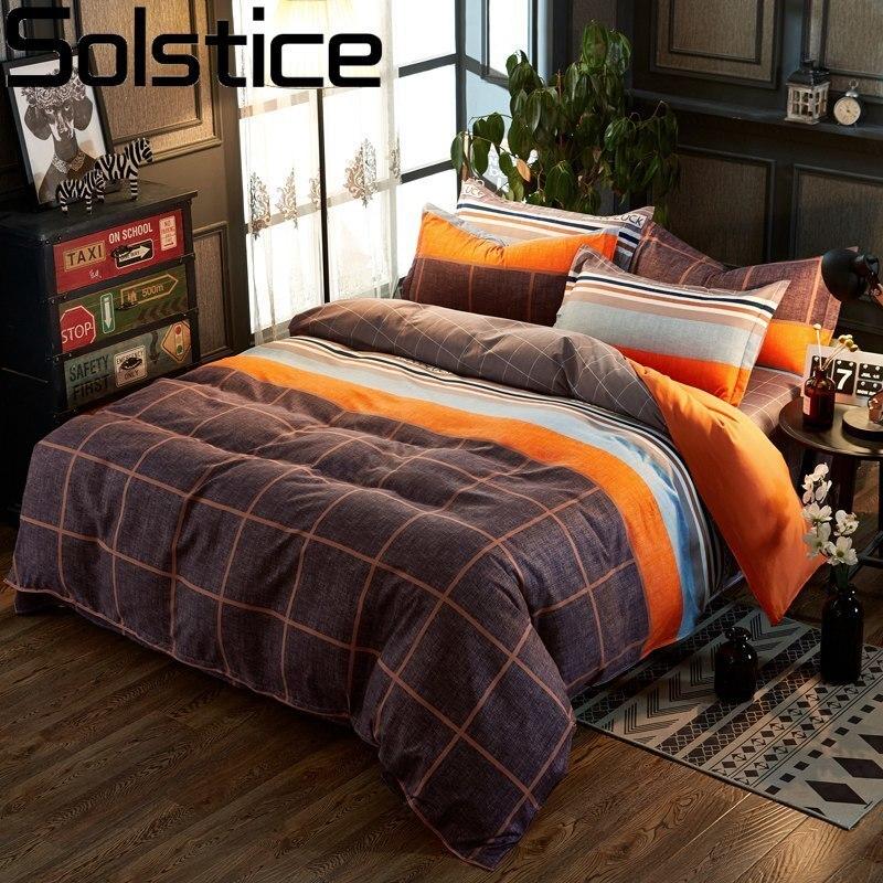Solstice Home Textile King Single Bedding Sets Orange Brown Plaid Duvet Cover Pillowcase Flat Sheets Woman Teen Adult Bedclothes