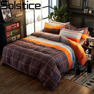 Solstice Home Textile King Single Bedding Sets Orange Brown Plaid Duvet Cover Pillowcase Flat Sheets Woman Teen Adult Bedclothes(China)