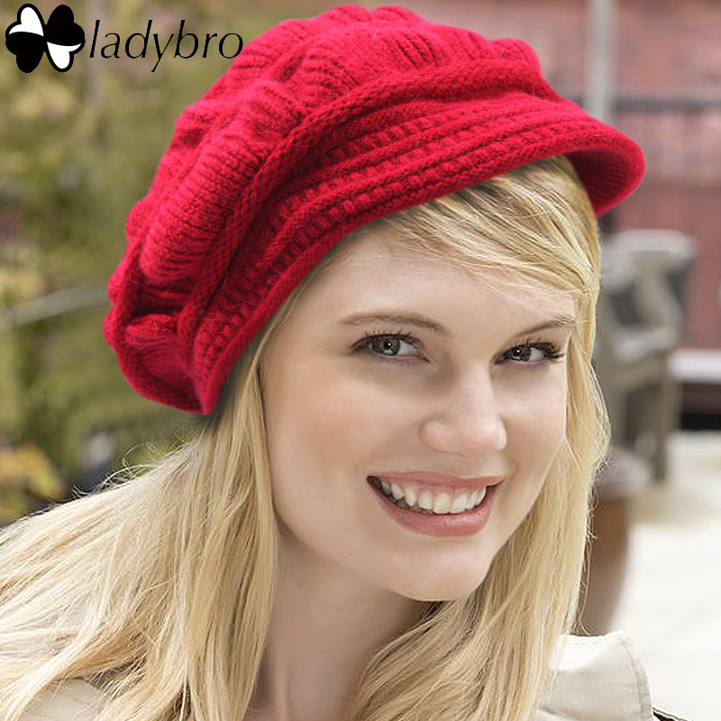 все цены на Ladybro High Quality Winter Knitted Hat Fashion Wool Women Beret Hat For Female Cap Warm Skullies Beanie Velvet Hat Lady Bonnets онлайн