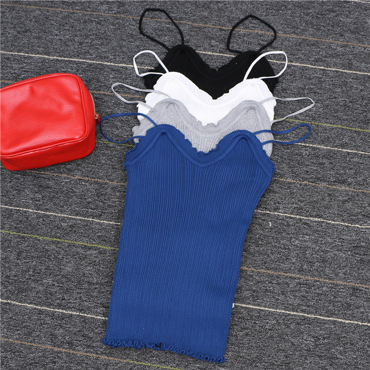 Summer Ruched Elastic Spaghetti Strap Sleeveless Vest Strappy Bra Bralette Bralet Knit Tank Top Women Sexy Camis Top Seller 1385