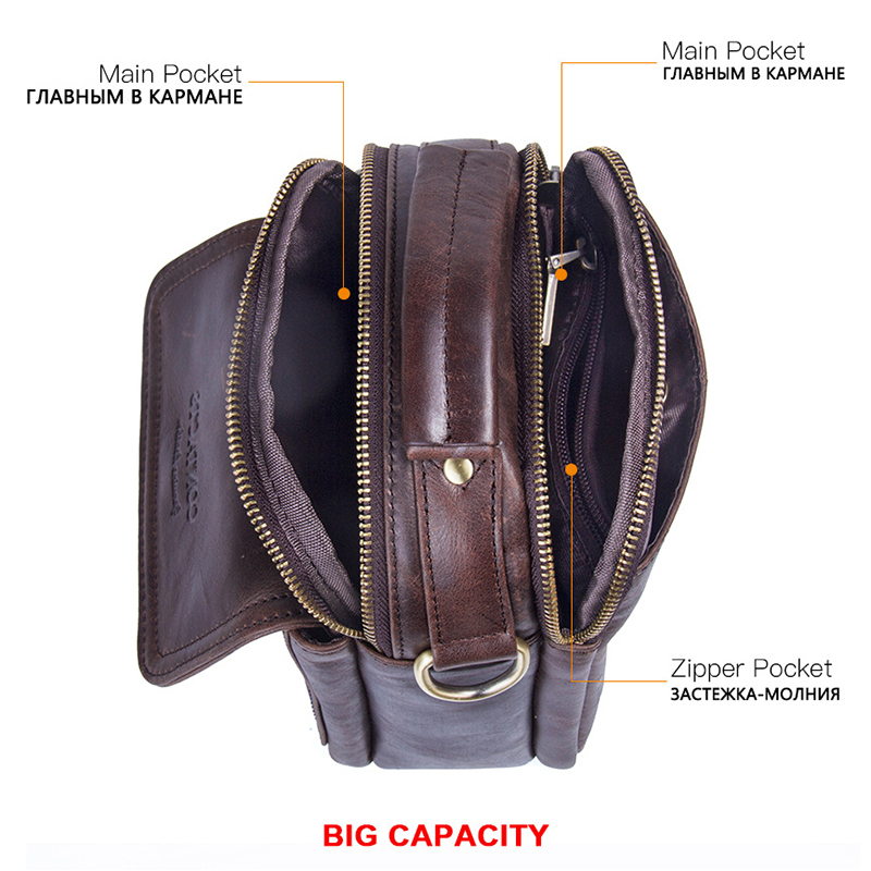 CONTACT 39 S Small Cow Genuine Leather Bag Men Bag Male Shoulder Bag Crossbody Messenger Bag Men Leather Handbag Brown Briefcase in Crossbody Bags from Luggage amp Bags