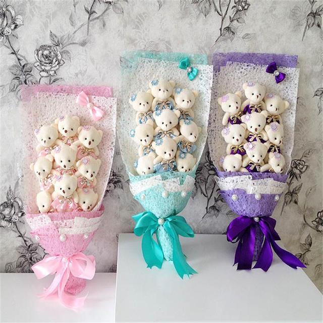 Peluche ramo ramo del oso de peluche muñeca de dibujos animados con PP algodón Rose Valentine / regalo de la graduación rosa / púrpura / azul