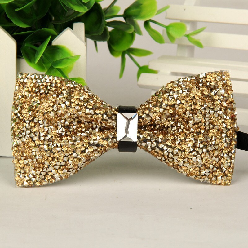SHENNAIWEI Fashion 2016 Mens High-grade Gold Diamond Crystal Gem Bow Tie 12cm-6cm Butterfly Bowties Lots