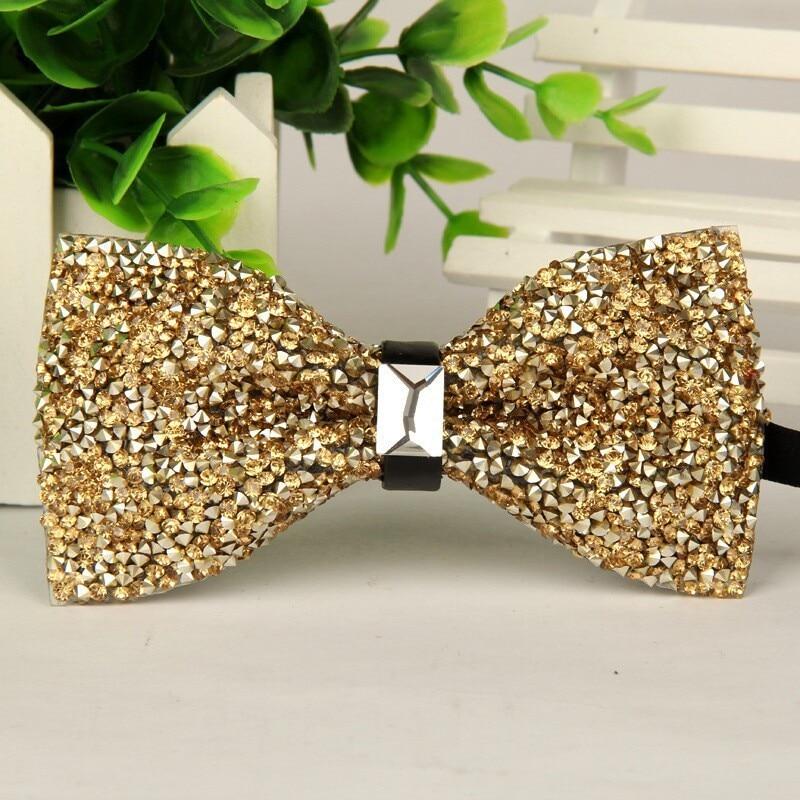 SHENNAIWEI Fashion 2016 Mens High-grade Gold Diamond Crystal Gem Bow Tie 12cm-6cm Butterfly Bowties Lots