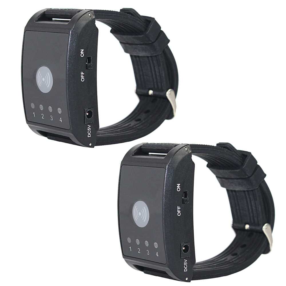 2 pcs Wireless Pager Watch Calling Receiver Call Pager System 4 Channel for Hospital Waiter Nurse Restaurant Pager 433MHz F4411A wireless waiter pager calling system for restaurant 1pcs receiver host 1pcs signal repeater 15pcs call button f3302b