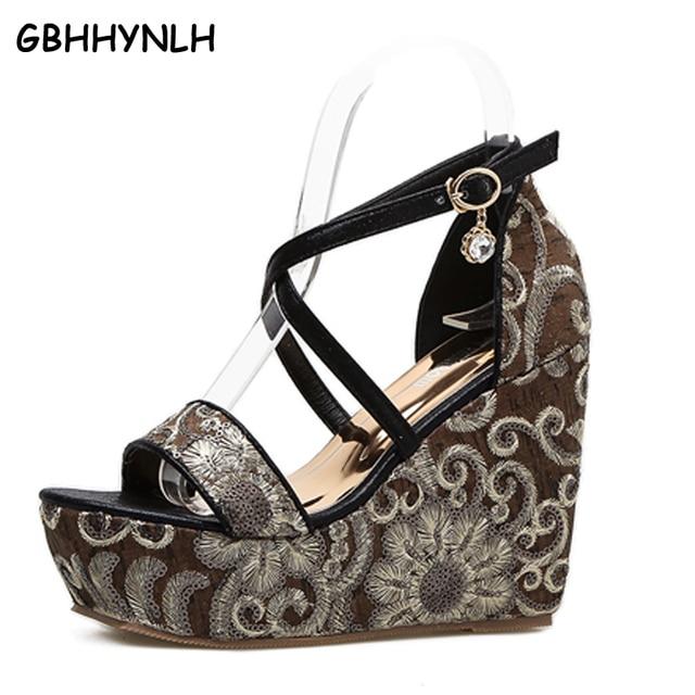 ae23ae023ae GBHHYNLH Sexy gold Sandals Wedges shoes Platform sandals High Heels wedding  Shoes peep toe Platform shoes