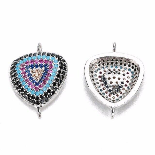 LOULEUR Triangle forme cuivre avec deux trous breloque Micro pavé multicolore cubique Zircon pour bijoux Bracelet bricolage faisant des connecteurs