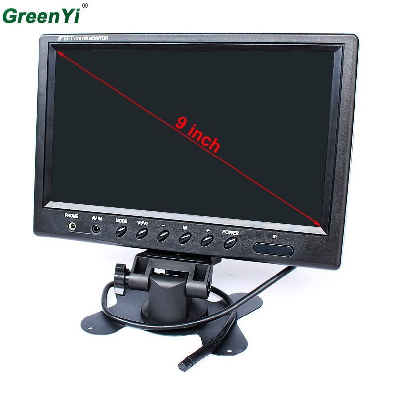 9 TFT LCD Color 800 x 480 Car Monitor 9 Inch Screen With Widescreen Remote Support 2CH Video Input For Rear View Camera