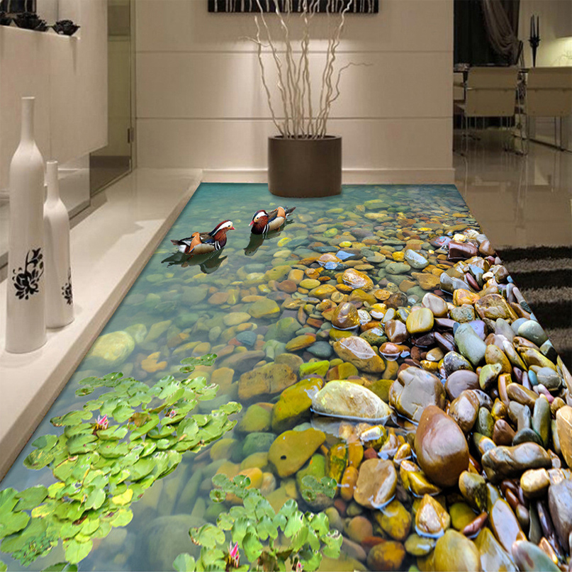 Custom 3D Floor Wallpaper Bathroom Kitchen 3D PVC Floor Mural Self-adhesive Thickened Wallpaper Waterproof Mandarin Duck Bathing beibehang modern bathroom kitchen custom 3d floor mural wallpaper wear non slip waterproof thickened self adhesive 3d pvc floor