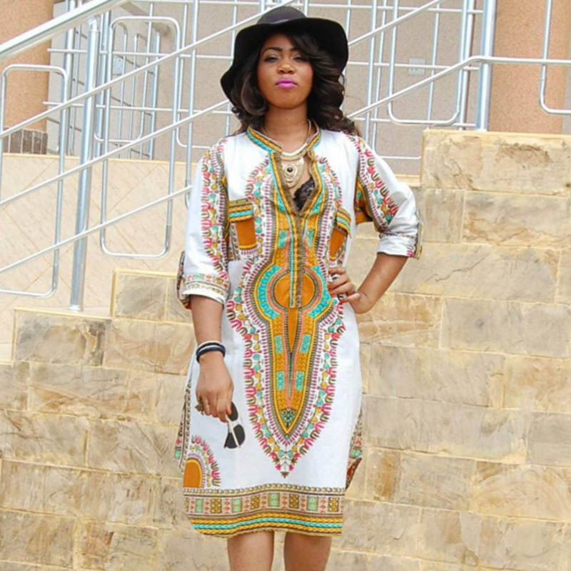 c4639ad234 Plus size African Dashiki Dress for women Vintage Robe Casual fashion  Traditional Print Ladies Indian Bazin Riche female Clothes