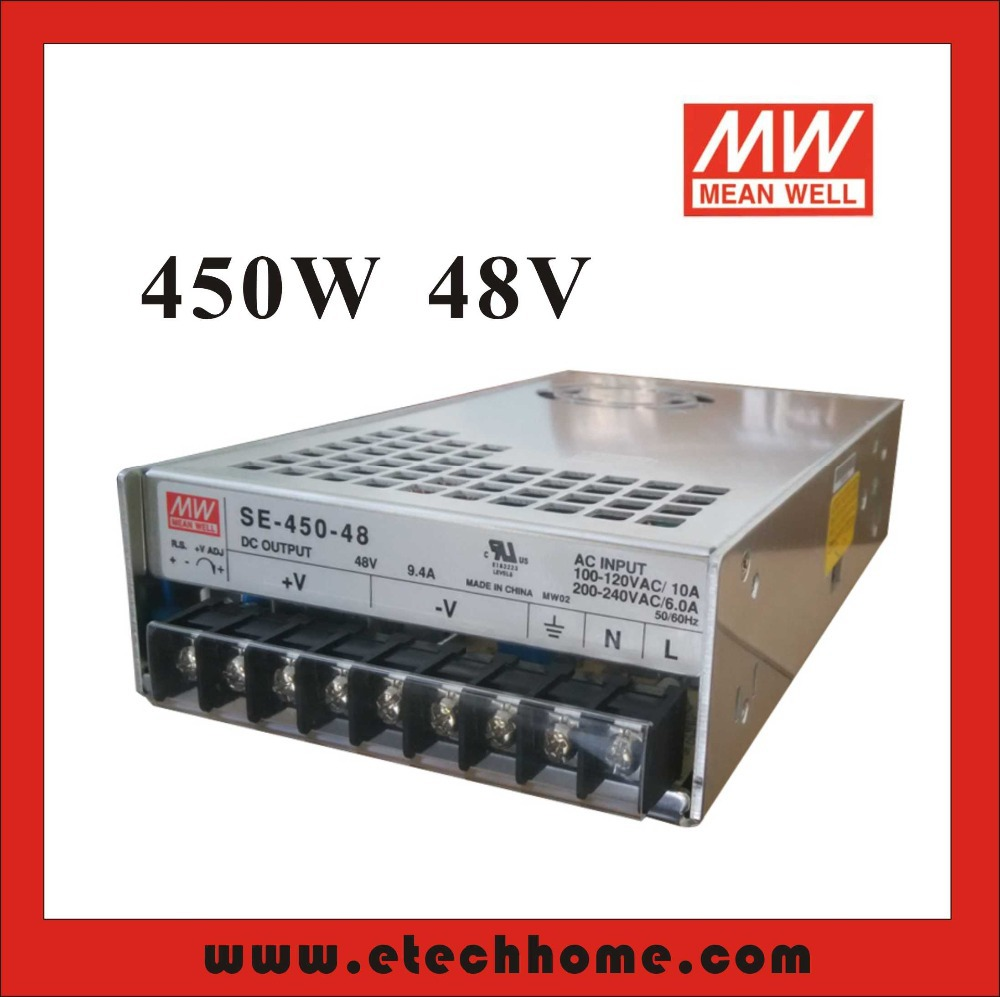 High Reliability Mean Well Switching Power Supply Stepper Power 450W 48V 9.4A SE-450-48 for Communication CNC Control блок питания сервера lenovo 450w hotswap platinum power supply for g5 4x20g87845 4x20g87845