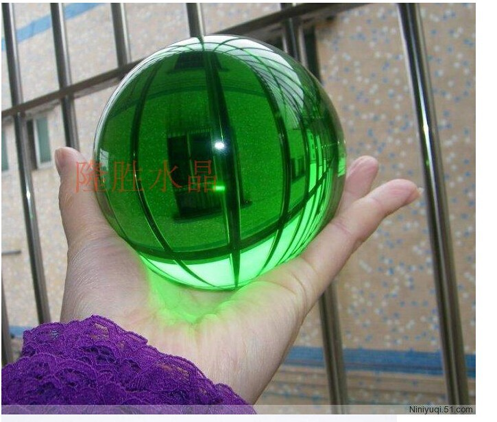 High Quality Artificial 60mm Green Asian Rare Quartz Crystal Glass Feng Shui Magic Crafts Figurines Supplies Best Gifts