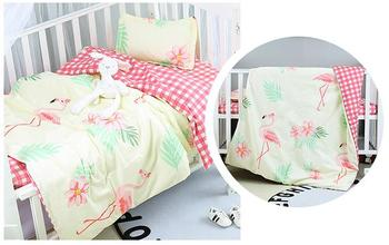 With Filling Flamingo Cotton Crib Blanket Newborn ropa de cuna children's Bed Linen unpick wash,Duvet /Sheet/Pillow