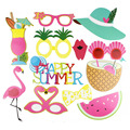 Pack of 12 Hawaiian Photo Booth Props Beach Luau Hawaiian Party Decorations Pool Summer Time Party Tropical Flamingo Party
