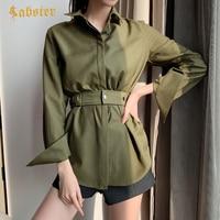 Women Fashion Army Green Blouse 2019 Summer Long Sleeve Women Blouses Shirt Ladies Casual Tops Blusas XZ291