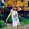 Women Summer Dress Beach Sexy Sleeveless Tank Dresses Straight Cotton Nightgown Female Print 99 Natural Casual