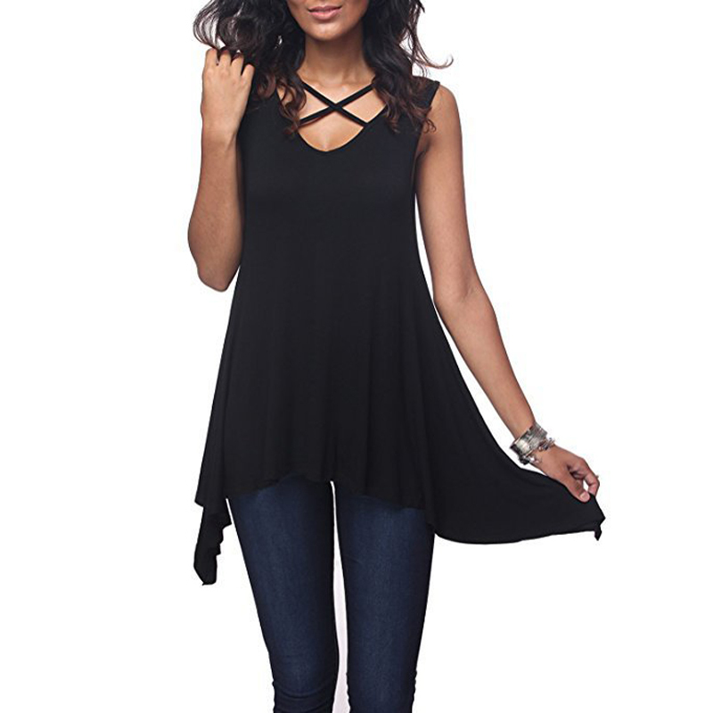 Women Casual Tops Female 2018 Summer Black White Solid Sleeveless Hollow Out Loose Elegant Beach Tee Shirt Ladies Texudo TShirt