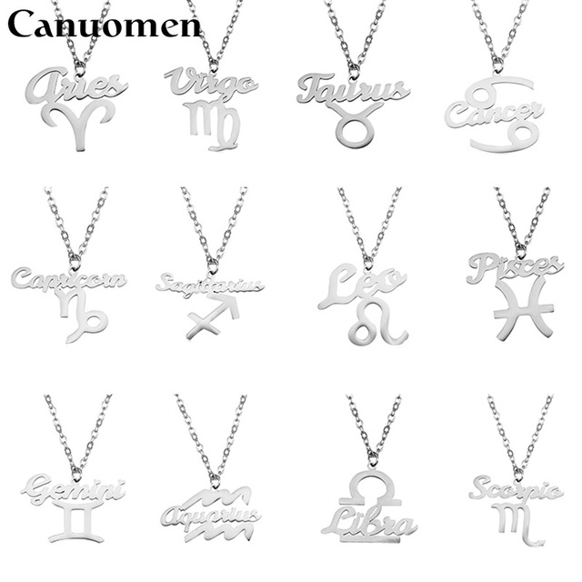 Canuomen 12 Zodiac Symbol Constellation Pendant Necklaces Stainless Steel Cancer Virgo Birthday Gifts Silver Gold Women Jewelry