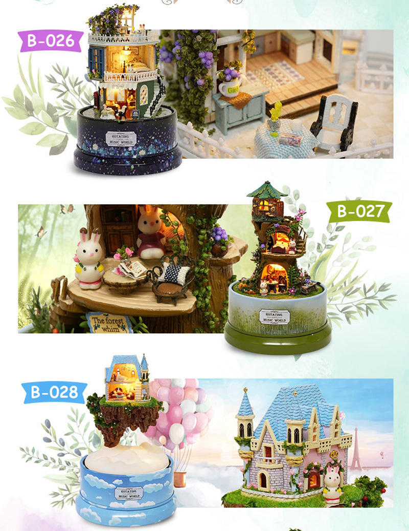 DIY Dollhouse Rotate Music Box Miniature Assemble Kits Doll House With Furnitures Wooden House Toys for Children Birthday Gift (2)