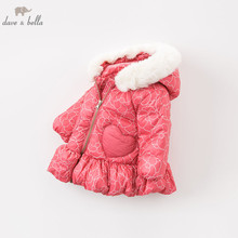 DBA7887 dave bella winter baby down coat girls hooded outerwear children 90% white duck down padded kids with fur pocket coat