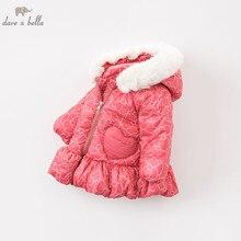 DBA7887 dave bella детское зимнее пуховое пальто, верхняя одежда с капюшоном для девочек, 90% утиного пуха, стеганое Детское пальто с меховыми карманами