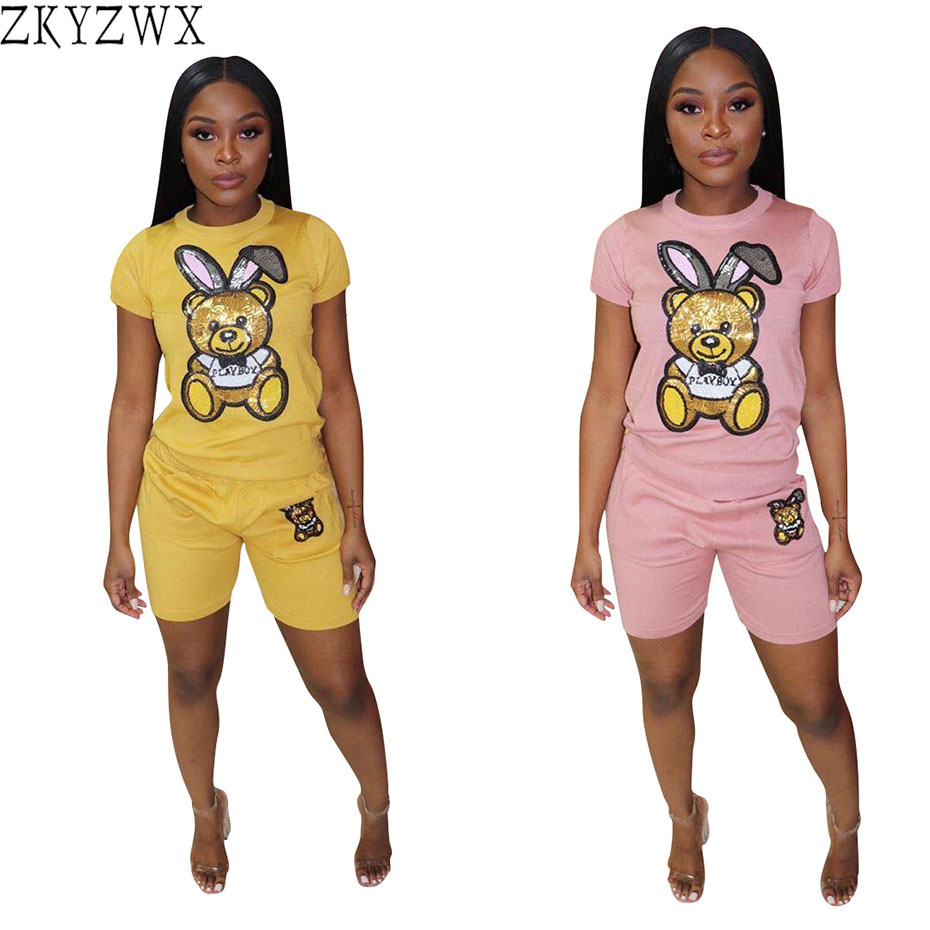 ZKYZWX Plus Size Tracksuit Women Two Piece Outfits Festival Clothing Sexy Women Top And Shorts 2 Piece Sexy Club Matching Sets