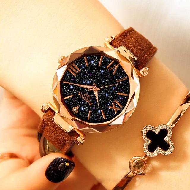 Starry Sky Watch Luxury Watch Women Leather Ladies Quartz Wrist Watch Fashion Casual Clock Female Waterproof Relogio Feminino