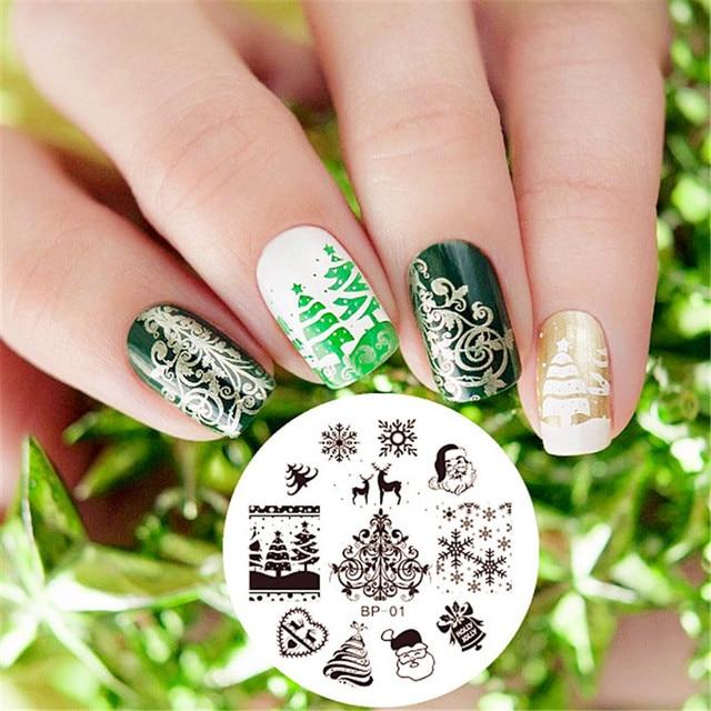 BP01 Nail Art Stamping Imagen Ronda de NAVIDAD Acero Inoxidable ...
