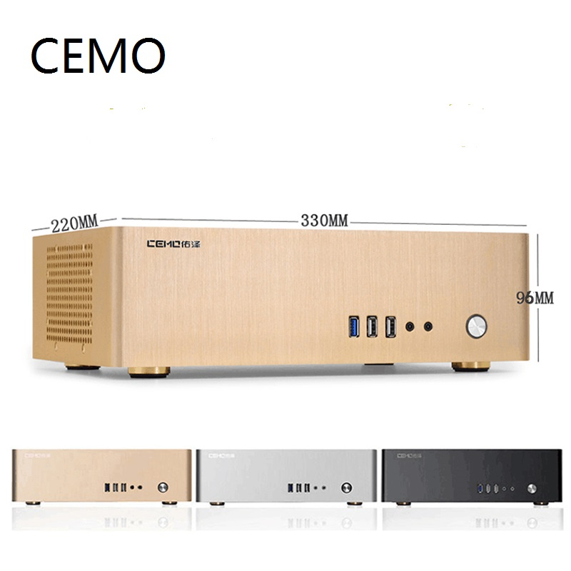 Aluminum Computer Case Horizontal MINI ITX HTPC Small Chassis Color Black Silver Gold Support 1U Power