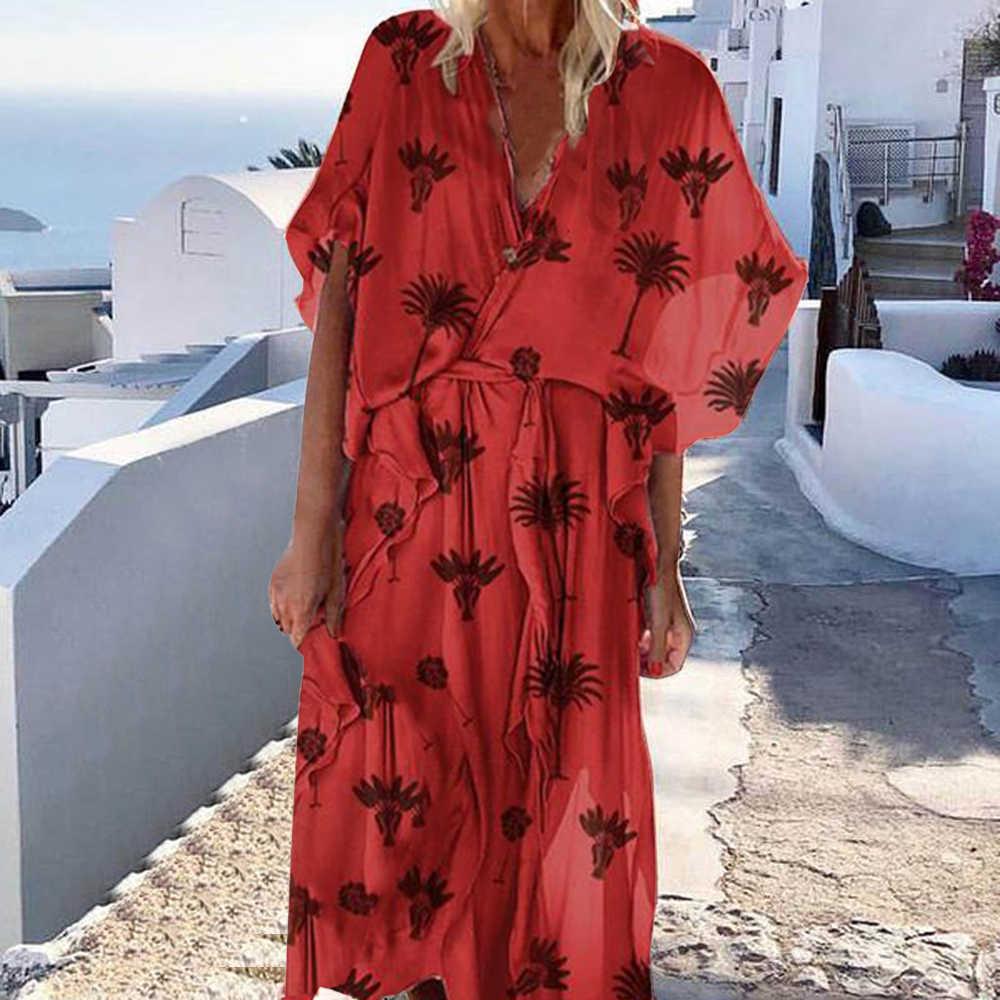Nouvelles femmes D'été Mode Col En V Manches Courtes Ourlet Volanté Imprimé Lâche Robes Plage Vacances décontracté Mince Ajustement Longues Robes Maxi